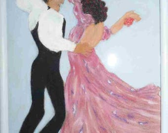 Painting pastel Catalan dancers dry Spanish Decor wall