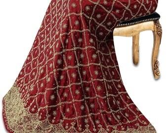 Free Shipping Vintage India Bridal Lehenga Satin Silk Fabric Heavy Beaded Maroon Wedding Women Wrap Skirt VSK3342