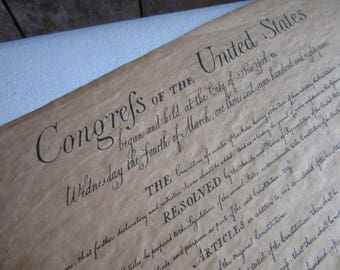 United States Constitution,1960's Reproduction Print,Parchment Paper,Souvenir,Vintage Wall Hanging,Colonial American History,US Constitution