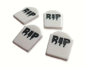 4 x Grave stone RIP halloween cabochons
