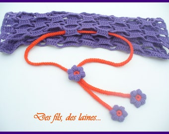 Crochet purple bolero with orange flowers for girls, crochet shrug, crochet children accessory, crochet children clothes, crochet flower