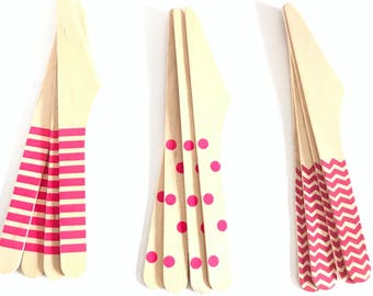 Set of 12, wooden Party Knives, polka dot, chevron, Stripes, hot pink, birthday decoration, party decorations, baby shower, party supply