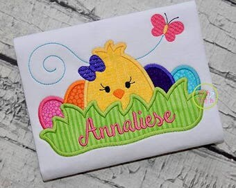 Personalized Easter Chick with Eggs in Grass Applique Shirt or Onesie Girl or Boy