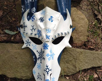 Leather Snowflake Dragon mask, hand knotted and braided leather headband,Fantasy,Halloween,Renn Faire,Fairy Fest,LARP,decoration,collection
