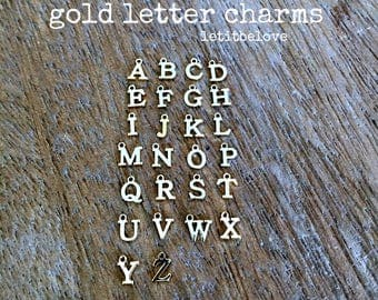 Gold Letter Charms Tiny Gold Letters Alphabet Initial Charms Initial Jewelry Letter Jewelry Personalized Letters