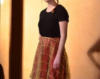 Satin gold overlay skirt