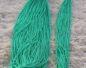 Mint green seed beads , Size 11 , Terra mint green Czech beads