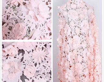 1Yard High Quality Floral Lace Fabric,3D Hollow Out Lace Fabric,White Embroidery Lace Dress Fabric,Wedding Dress,French Bodices Lace Fabric,