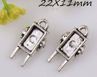 X 2 wheelbarrow 3D silver 22mm Tibetan