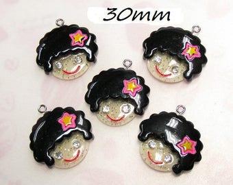 X 1 girly hair curled black 30mm head