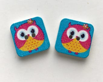 X 3 square buttons wood OWL pink/yellow 15X15mm