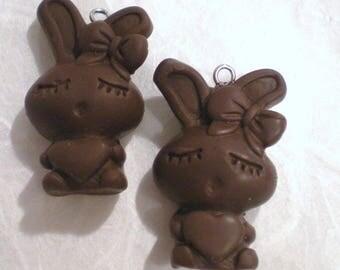 X 1 polymer clay chocolate bunny