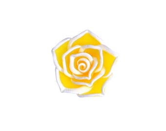 Flower bead 1 X yellow and white fimo 23mm