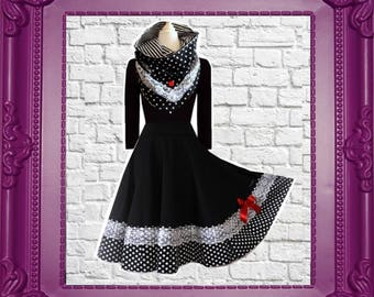 Petticoat Collar Dress Swing White Black Dots Rockabilly Vintage Wedding Black Cherrys Store Fashion as in Fairy Tale Eco Friendly