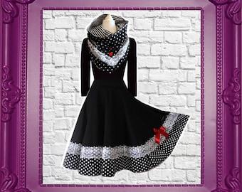 Petticoat Collar Dress Swing White Black Dots Rockabilly Vintage Wedding Black Cherrys Store Fashion as in Fairy Tale Eco Friendly