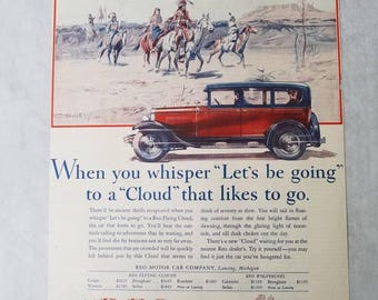 1929 Reo Flying Cloud Car Ad ~ Charles Russell Indians - Magazine Ad