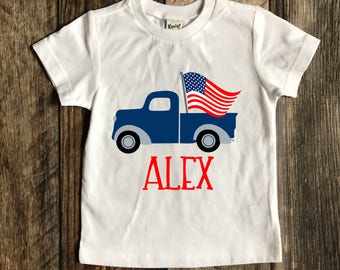 boys truck shirt.  Patriotic. Fourth of July. Personalized.