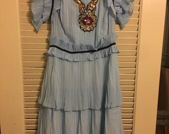 Beautiful blue, dress w/sequin appliqué