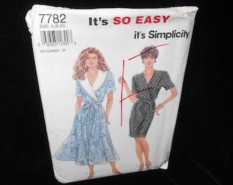 Misses Slim Dress Simplicity 7782 Womens Flared Dress Collar Tie Belt Sizes 8-20