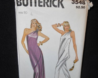 Butterick 3548 Misses Womens Size 10 Tunic Skirt Pants A-line Tapered One Shouldered Evening