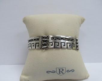Vintage Signed Rancho Alegre Handmade Mexican 925 Silver Bracelet W #840