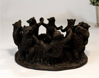 Dancing Bears in Circle Center Piece William H Bear Style Dark Walnut Finish