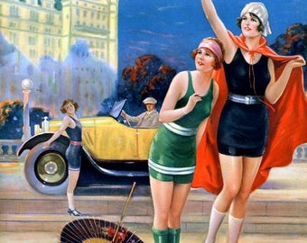 "late-1920s-pin-up illustration by Charles relyea, art deco era swimsuits, resort art, old cars,  11 x 14""  premium Luster photo paper"