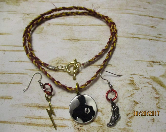 The Flash Jewelry Set Braided Necklace and Earrings