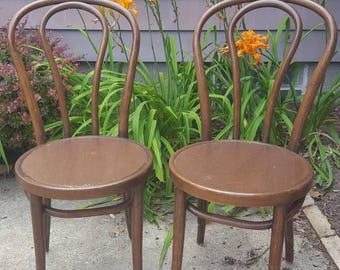 Vintage 2 Bentwood Thonet Style Ice Cream Bistro Chairs Parlor Side Dining Chairs