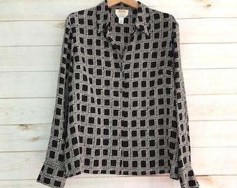 Vintage 90's 100% Silk Black White Checkered Sheer Blouse Women's Large