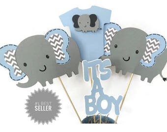 Elephant Baby Shower Centerpiece In Blue And Gray, Elephant Theme Baby  Shower Decorations