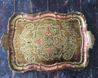 Vintage, Italian, Florentine, Tray, Vanity Tray