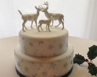 Deer stag doe and fawn wedding cake topper or table decorations