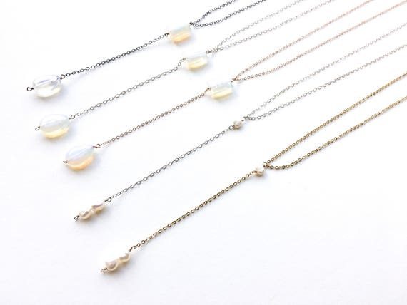 Opalite or Pearl Y-Necklace // 14k Gold Plated, 14k Rose Gold Filled, Sterling Silver or Gunmetal