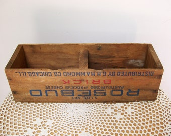 Divided WOOD BOX Rosebud Pasteurized Processed American Cheese GH Hammond Co Chicago