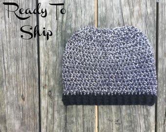 Messy Bun Beanie - Ready To Ship - Black Messy Bun - Crochet Messy Bun Beanie -  Messy Bun Crochet Bun Hat - Ponytail Beanie