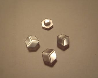 SET OF 4 BUTTONS HAS FACETED GREY BLUE