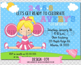 Cheerleader Cheer Squad Camp Girl:Design #034-Children's Birthday Party Digital Invitation File 4x6 or 5x7 Free Thank You Card with Purchase