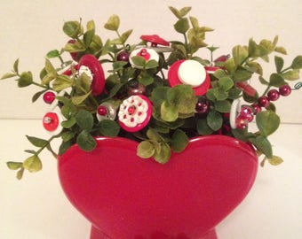 Vintage Valentine  Button Bokay/Large Heart/Holiday Home Decor/Shabby Cottage Chic/