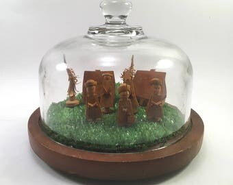 Miniature wooden village scene diorama on wood under glass dome cloche vintage Goodwood cheese board