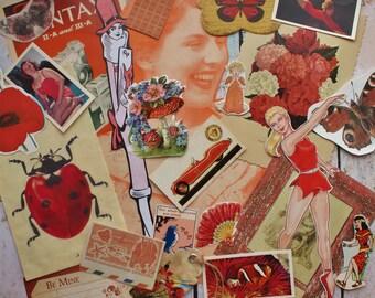 25 Mixed Red Ephemera pieces, scrap booking, collaging