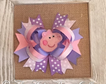 Pink Pig Hair Bow - Pink Pig Boutique Bow - Pastel Hair Bow - Character hair Bow