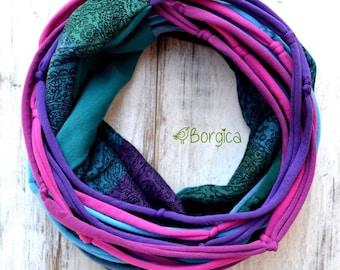 Purple Turquoise Paisley - Ellevill Zara babysling wrap scrap infinity scarf with tshirt yarn  upcycled scarf Bohemian style boho fashion ec