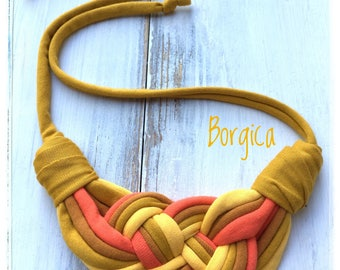 Sunshine - knotted upcycled necklace, fabric jewelry, eco friendly necklace, gift ideas, summer accessories, statement necklaces, textile