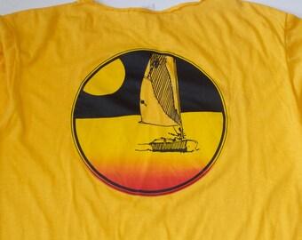 Vintage 1980s Fort Lauderdale Florida Spring Break Long Sleeve T Shirt / Beach Graphic / Large