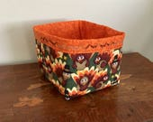 Handmade Thanksgiving Fabric Basket, Thanksgiving Fabric Bread Basket, Fabric Storage Basket, Turkey Basket, Bread Basket