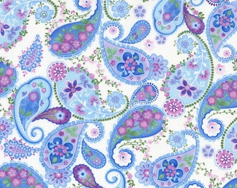 Pink, Blue, Lavender Paisley Print, White Back, Harmony, Timeless Treasures, Chong-a-Hwang (By 1/2 yd)