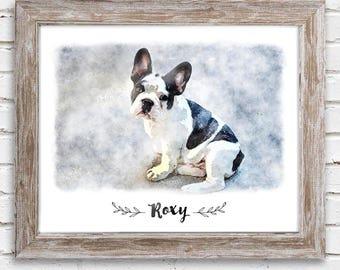 Digital Watercolor Pet Portrait, custom pet portrait, pet memorial, gift