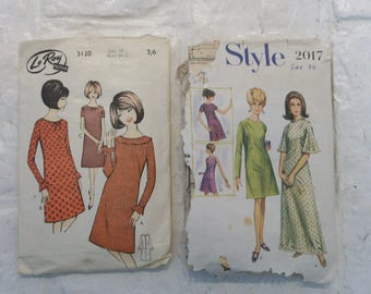 "Lot of 2 mid/late 1960s shift dress patterns w/flared, ruffled options  bust 34"", 36""  Dolly dresses"