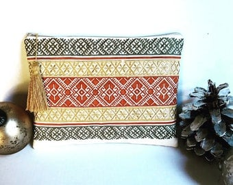 Embroidered Large Clutch with tassel